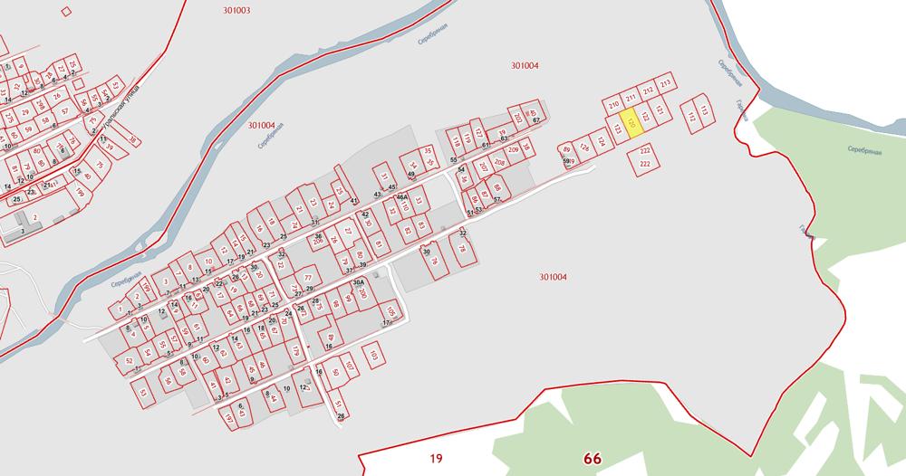 Жёлтым выделен земельный участок Черепановых (скрин ПКК Росреестра)